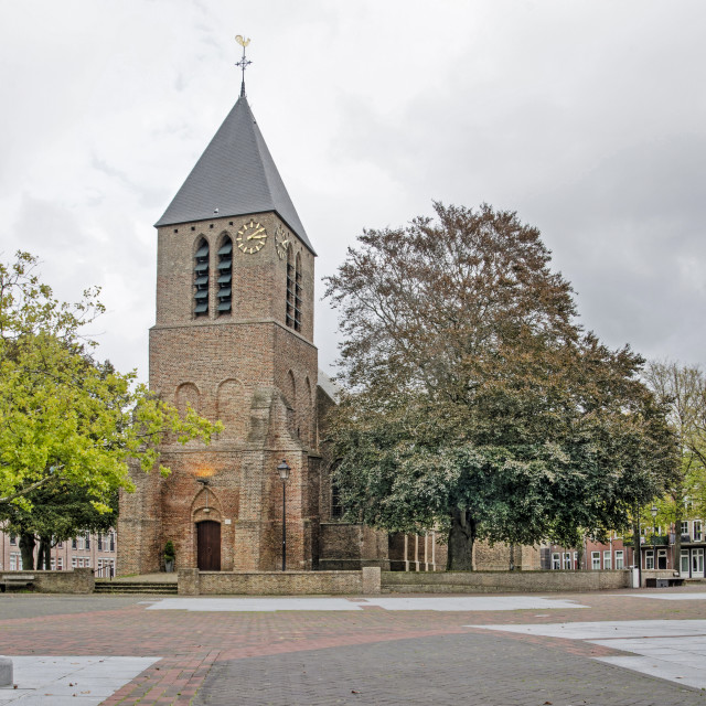 """""""Spijkenisse church and square"""" stock image"""