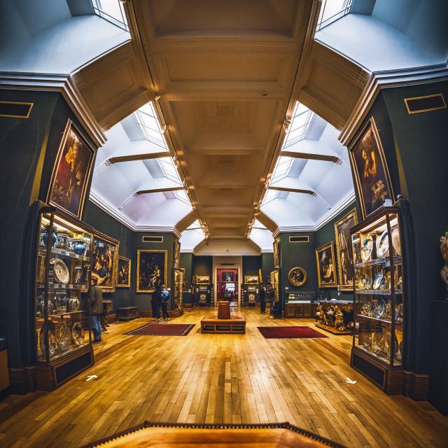 """Fitzwilliam Museum, gallery 7. Five picture panoramic."" stock image"