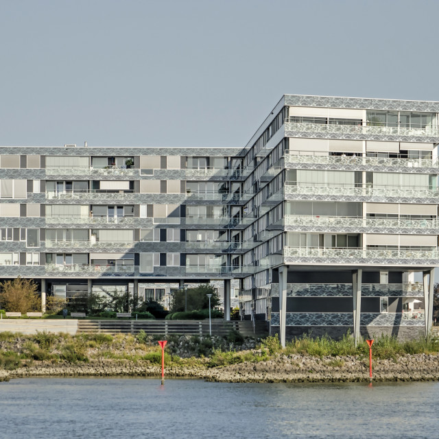 """Riverside residential building"" stock image"