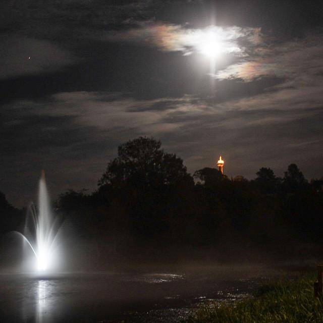 """Harvest moon over Enniskillen"" stock image"