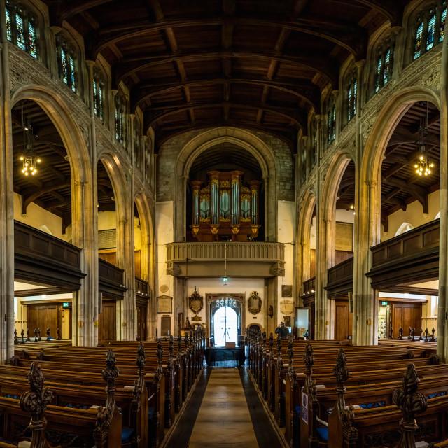 """Panorama of Great St Mary's Church, Cambridge UK."" stock image"