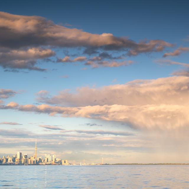 """Heavy Rain Shower Passes Over Toronto"" stock image"