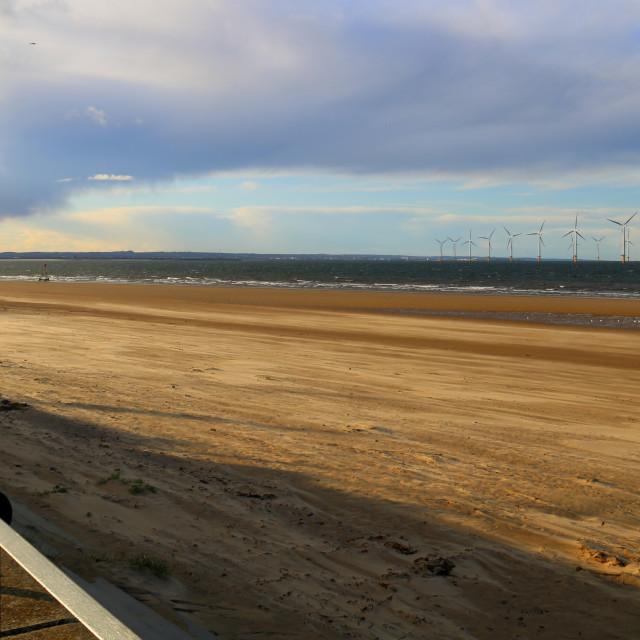 """Evening Autumn light over Redcar beach"" stock image"