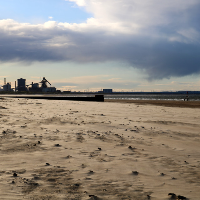 """Redcar steelworks as seen from Coatham beach, Redcar"" stock image"