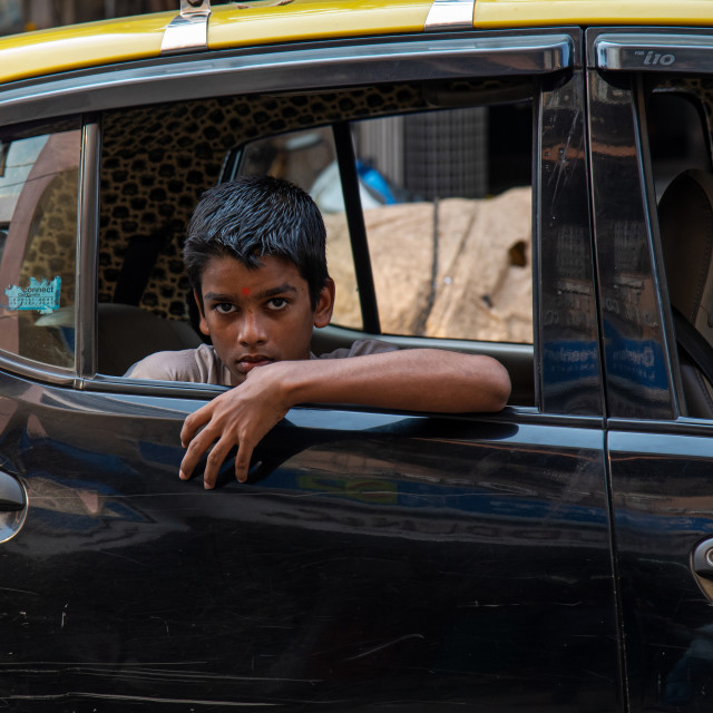 """""""BOY IN A TAXI"""" stock image"""