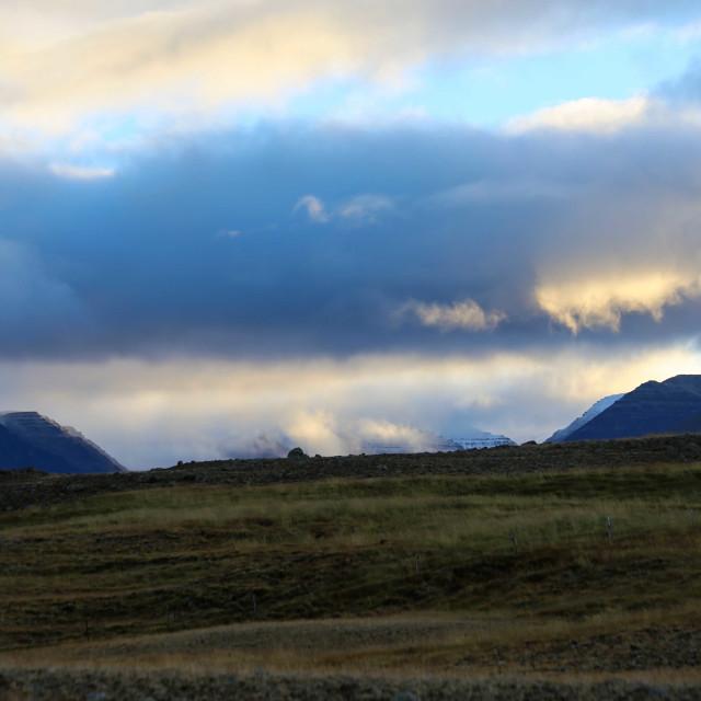 """Sunrise Light in Skagafjordur Iceland"" stock image"