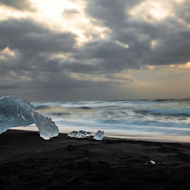 """Diamond Beach Sunrise in Iceland"" stock image"