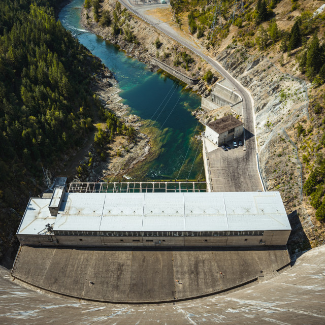 """Looking Down to the Hydroelectric Power Station at Hungry Horse"" stock image"