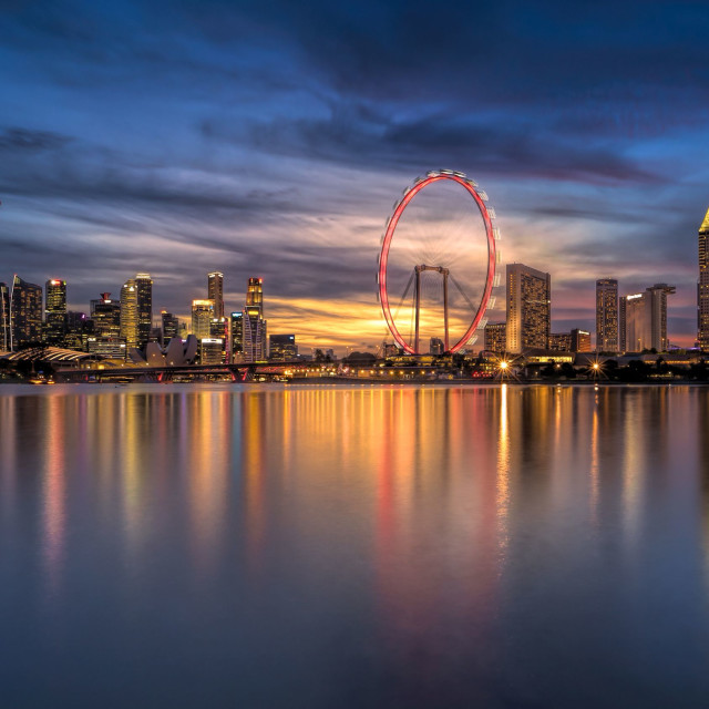 """Sunset over Singapore"" stock image"