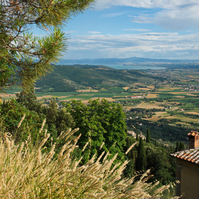 """Lake Trasimeno viewed from above Cortona"" stock image"