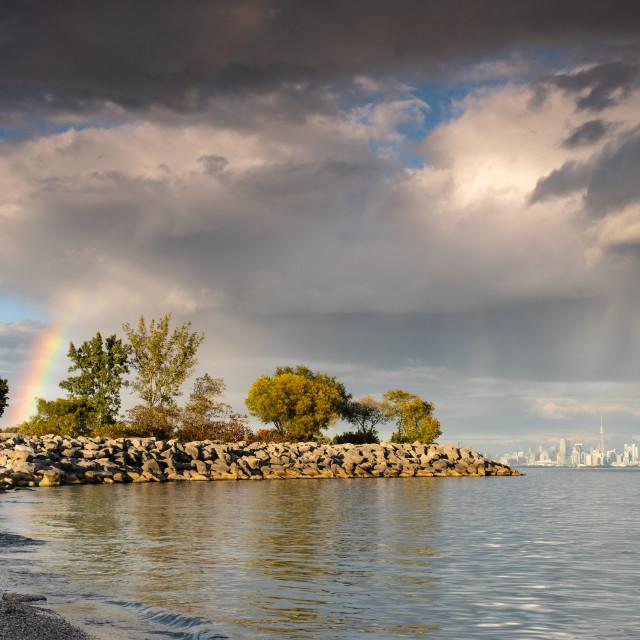 """Rainbow at Colonel Samuel Smith Park, Toronto"" stock image"