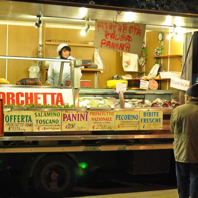 """The 'Porchetta' pitchwoman..."" stock image"