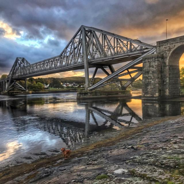 """Connel bridge at sunset"" stock image"