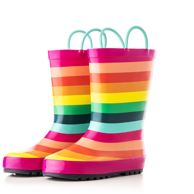 """""""Rubber kid rain boots colorful print. Foot wear for children iso"""" stock image"""