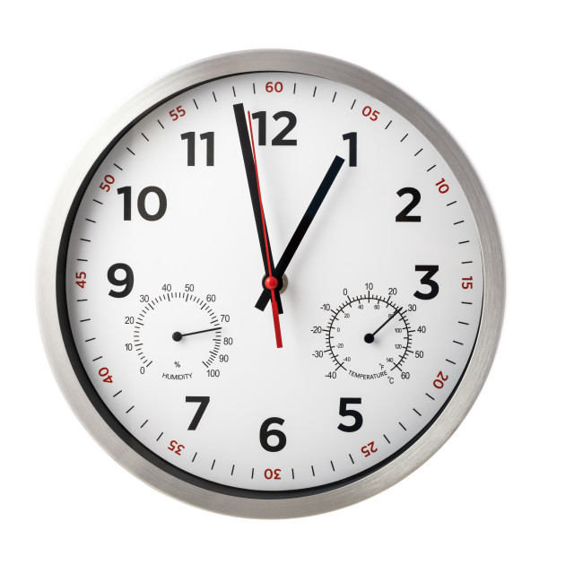 """""""Modern wall clock shows hours, minutes, temperature, humidity"""" stock image"""