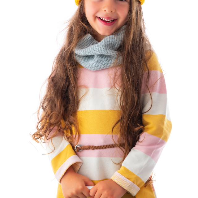 """""""Happy little girl with autumn clothes and shopping bag portrait,"""" stock image"""