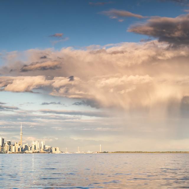 """Rain Passing Over Toronto, Ontario"" stock image"