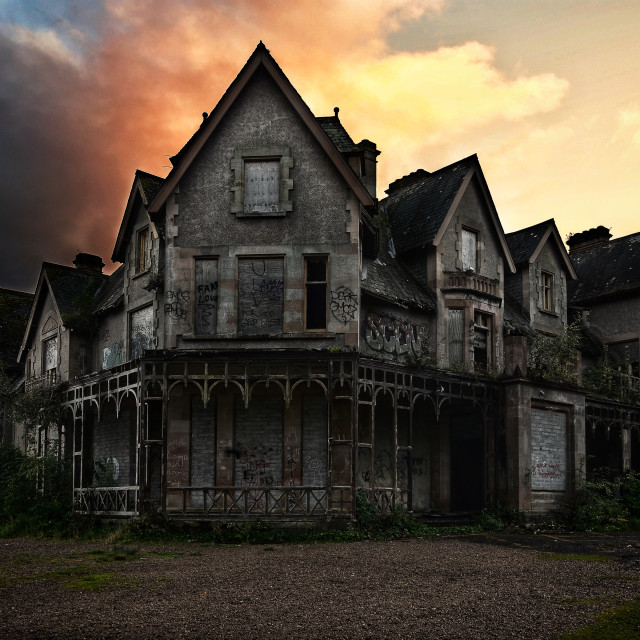 """""""Cairndhu House at sunset."""" stock image"""