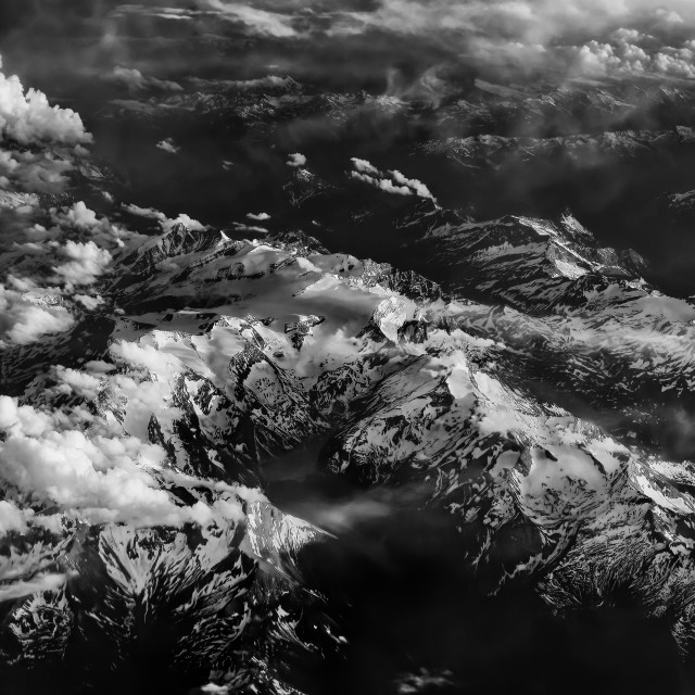 """Flying over the Alps"" stock image"