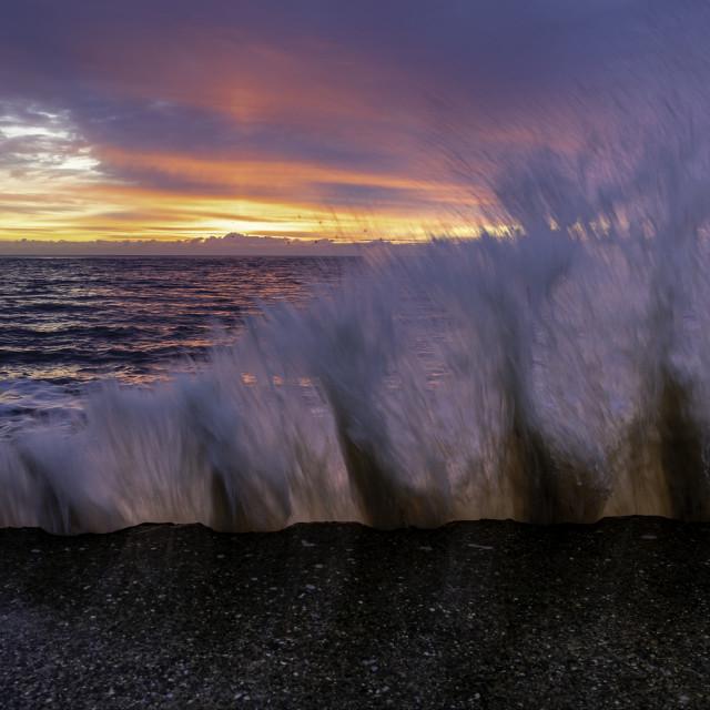 """""""Splash! Felixstowe Sunrise"""" stock image"""