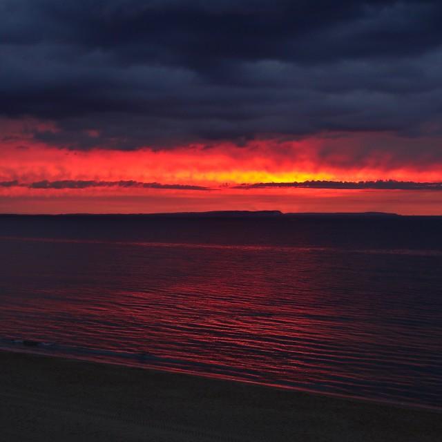 """""""Dramatic Red Sunrise"""" stock image"""