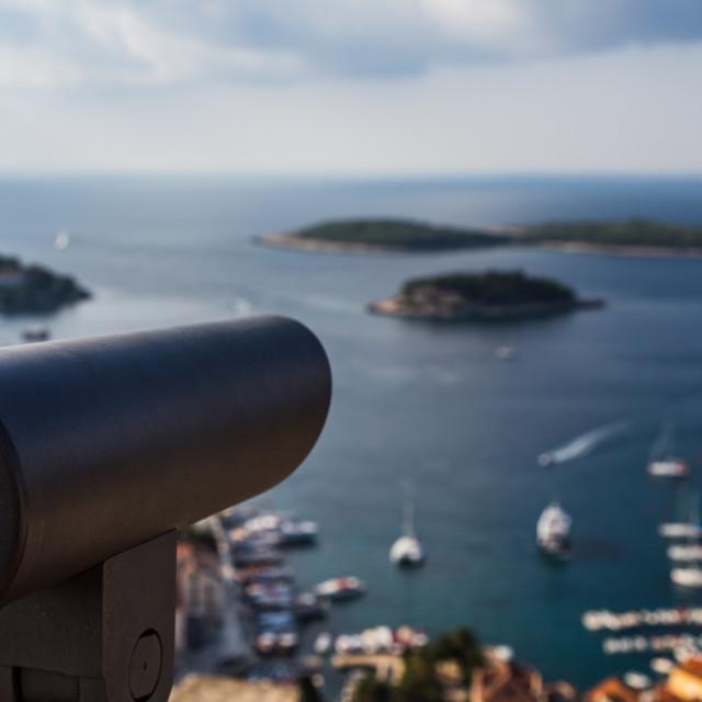 """Telescope overlooking Hvar Town"" stock image"