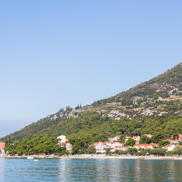 """""""Steep sides of the Peljesac mountains"""" stock image"""
