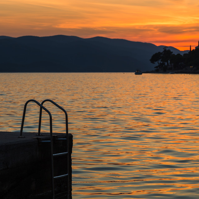 """""""Inviting steps into the Peljesac channel"""" stock image"""