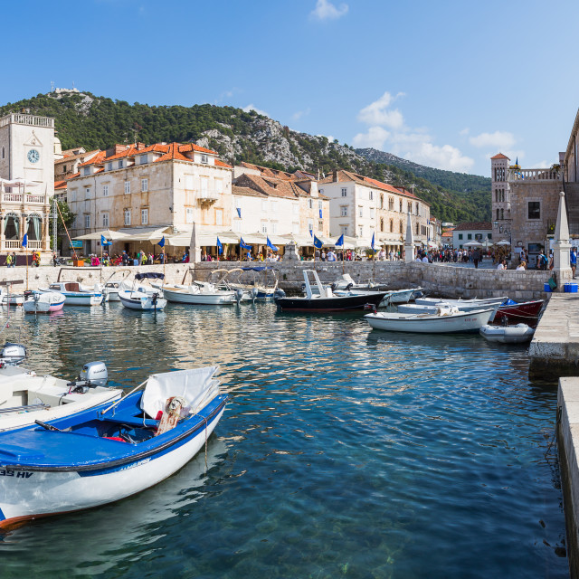 """""""Boats in Hvar Town harbour"""" stock image"""