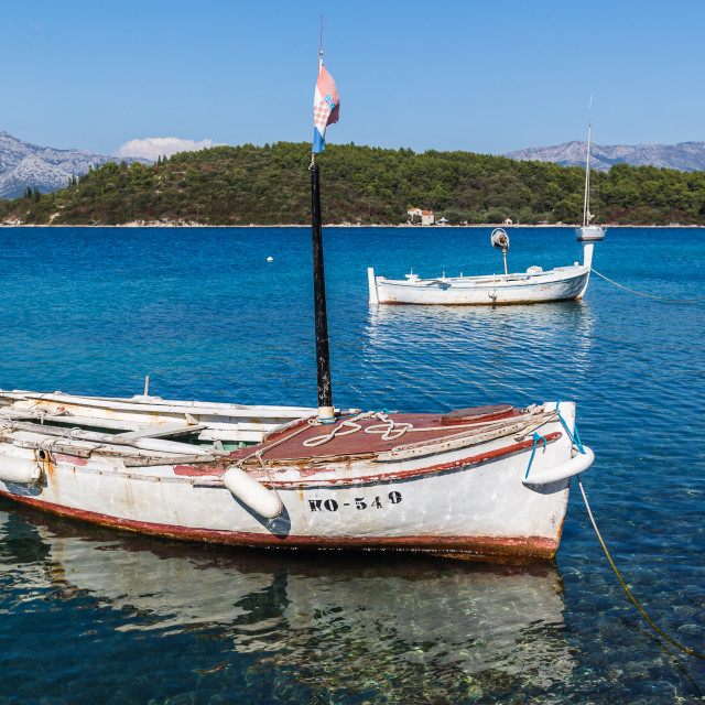"""""""Small fishing boats in Korcula"""" stock image"""