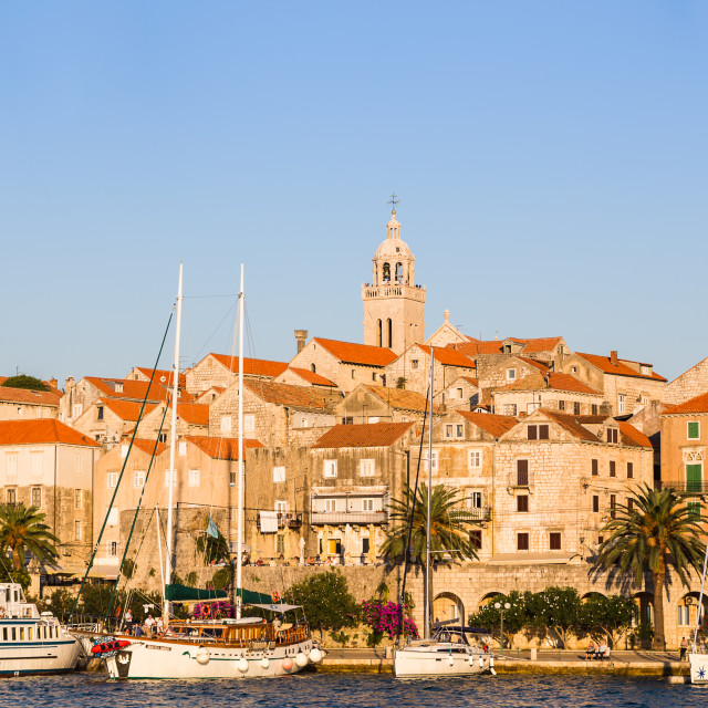 """""""Dusk over Korcula old town"""" stock image"""