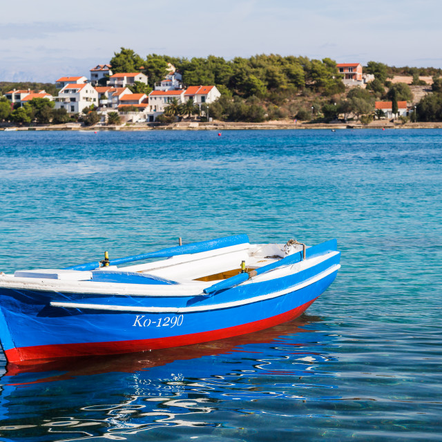 """""""Pretty fishing boat moored in Korcula"""" stock image"""