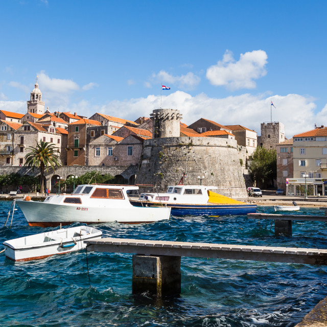 """""""Choppy waters next to Korcula old town"""" stock image"""
