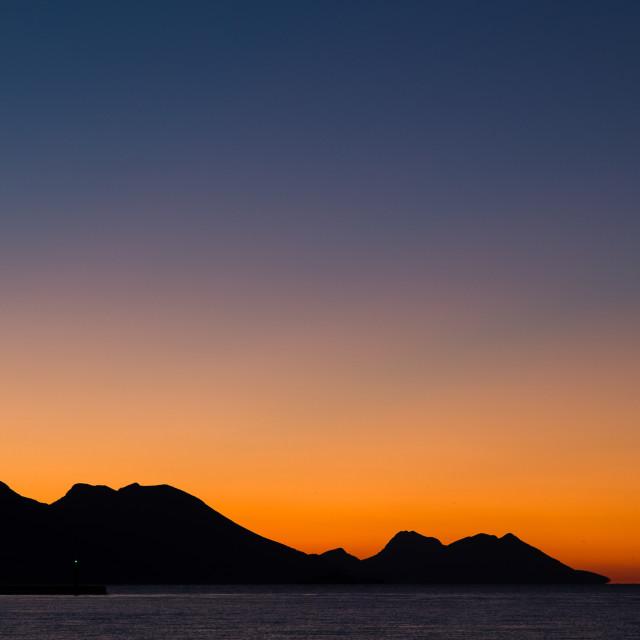 """Sunrise above the Peljesac channel"" stock image"
