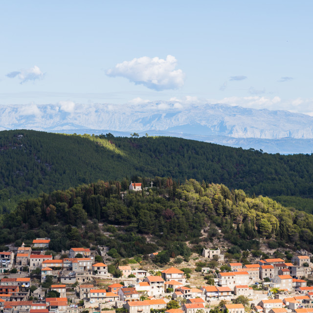 """""""Tiny chuch above the village of Blato"""" stock image"""