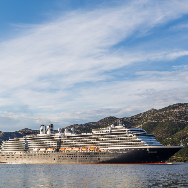 """""""Holland America Line cruise ship on the Peljesac channel"""" stock image"""