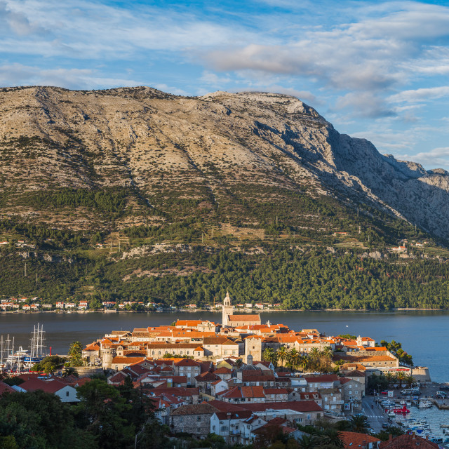 """""""Panorama of Korcula old town before sunset"""" stock image"""
