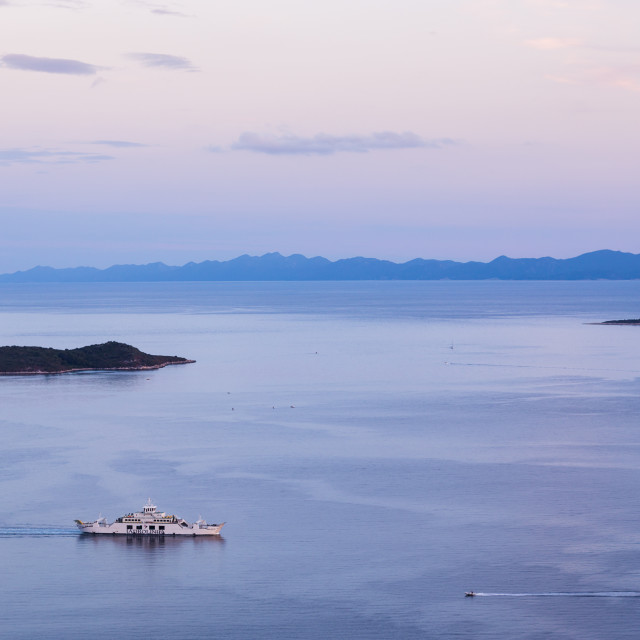 """""""Boats on the Peljesac Channel"""" stock image"""