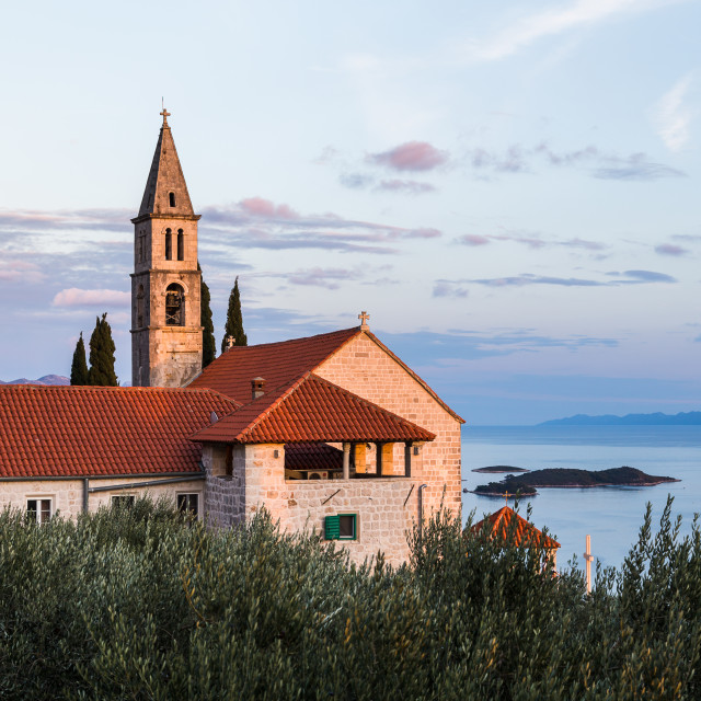 """""""Franciscan monastery above the Peljesac channel"""" stock image"""