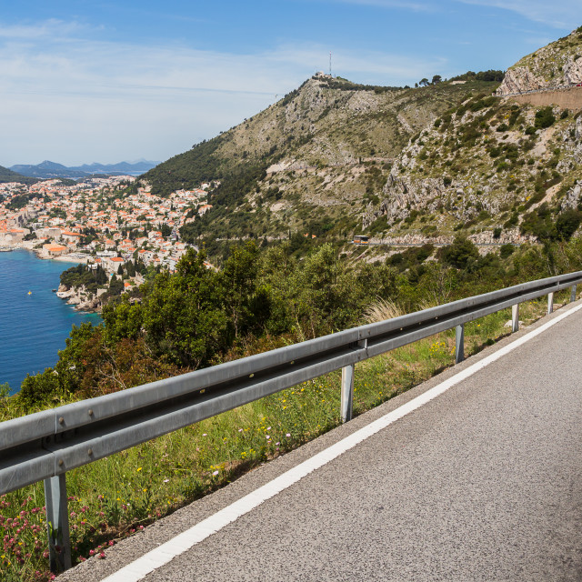 """""""Winding road down to Dubrovnik"""" stock image"""
