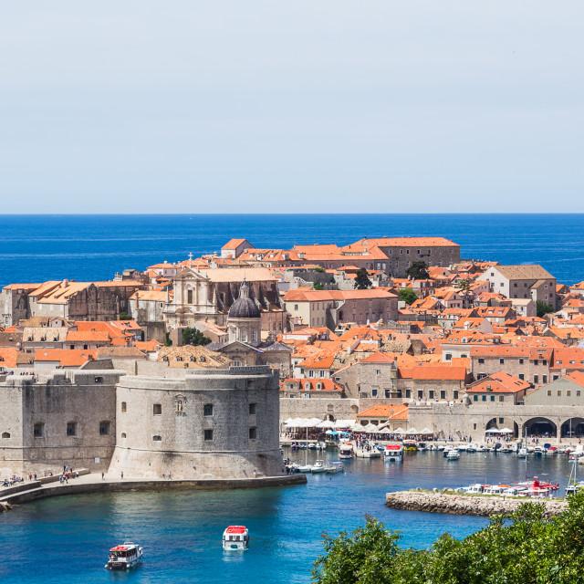 """Letterbox crop of Dubrovnik harbour"" stock image"