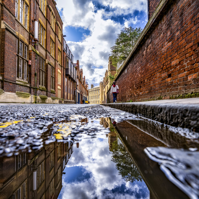 """""""Reflections from Silver Street, Cambridge UK."""" stock image"""