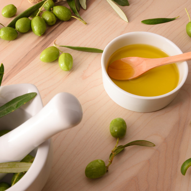 """""""Olive oil essence for body and culinary care elevated"""" stock image"""