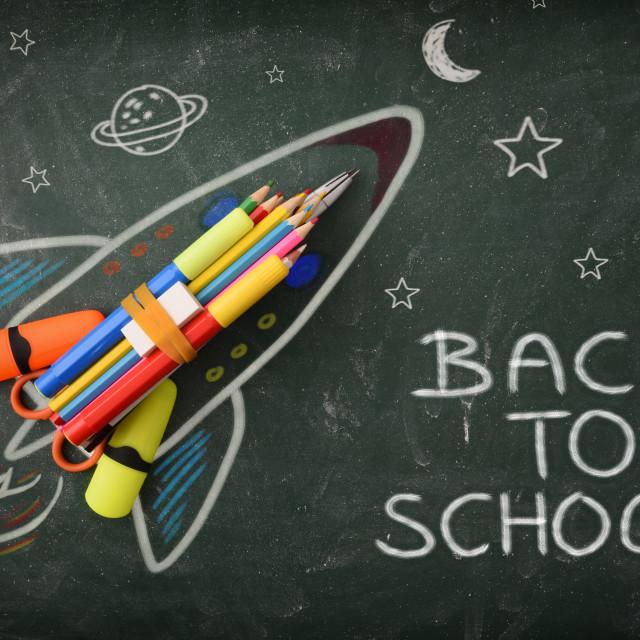 """School creativity with rocket drawing on blackboard back to school"" stock image"