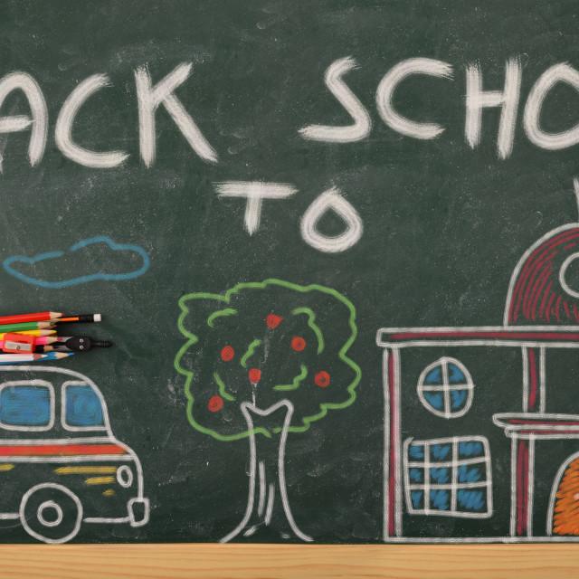 """School creativity with school drawn on blackboard back to school"" stock image"