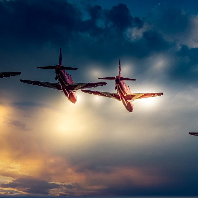 """""""Red Arrows Sunset Flypast"""" stock image"""