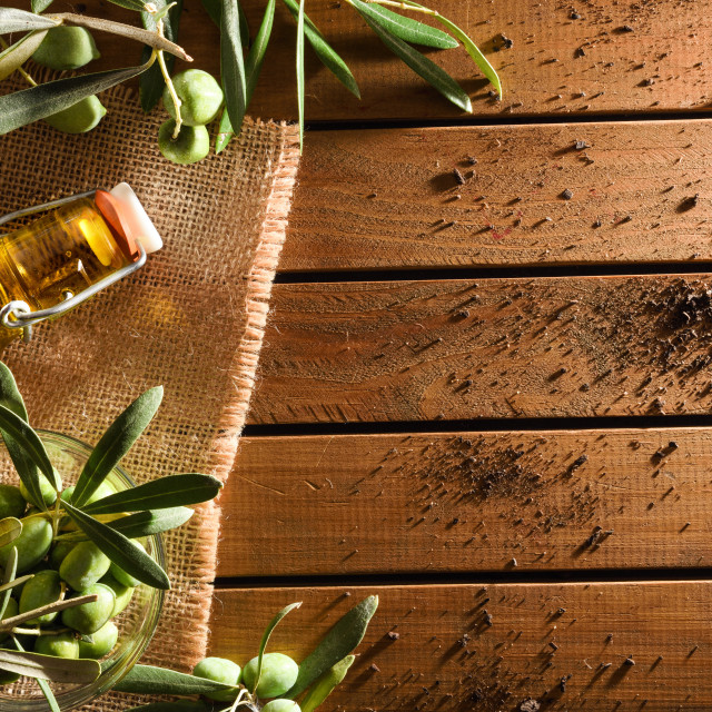 """""""Olive oil and olives on wood table top"""" stock image"""