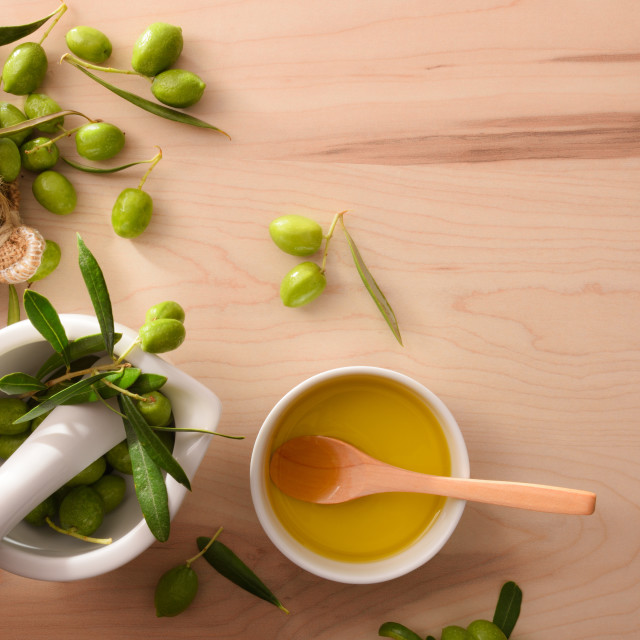 """""""Olive oil essence for body and culinary care top"""" stock image"""