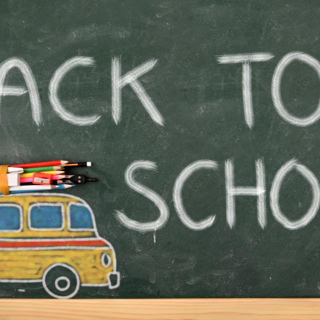 """School creativity with bus drawn on blackboard back to school"" stock image"