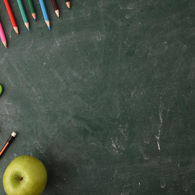 """School material on green blackboard top view"" stock image"